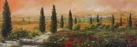Il Viale dei Cipressi by Tebo Marzari 12x36 Canvas Abstract Tuscan Landscape - $187.11