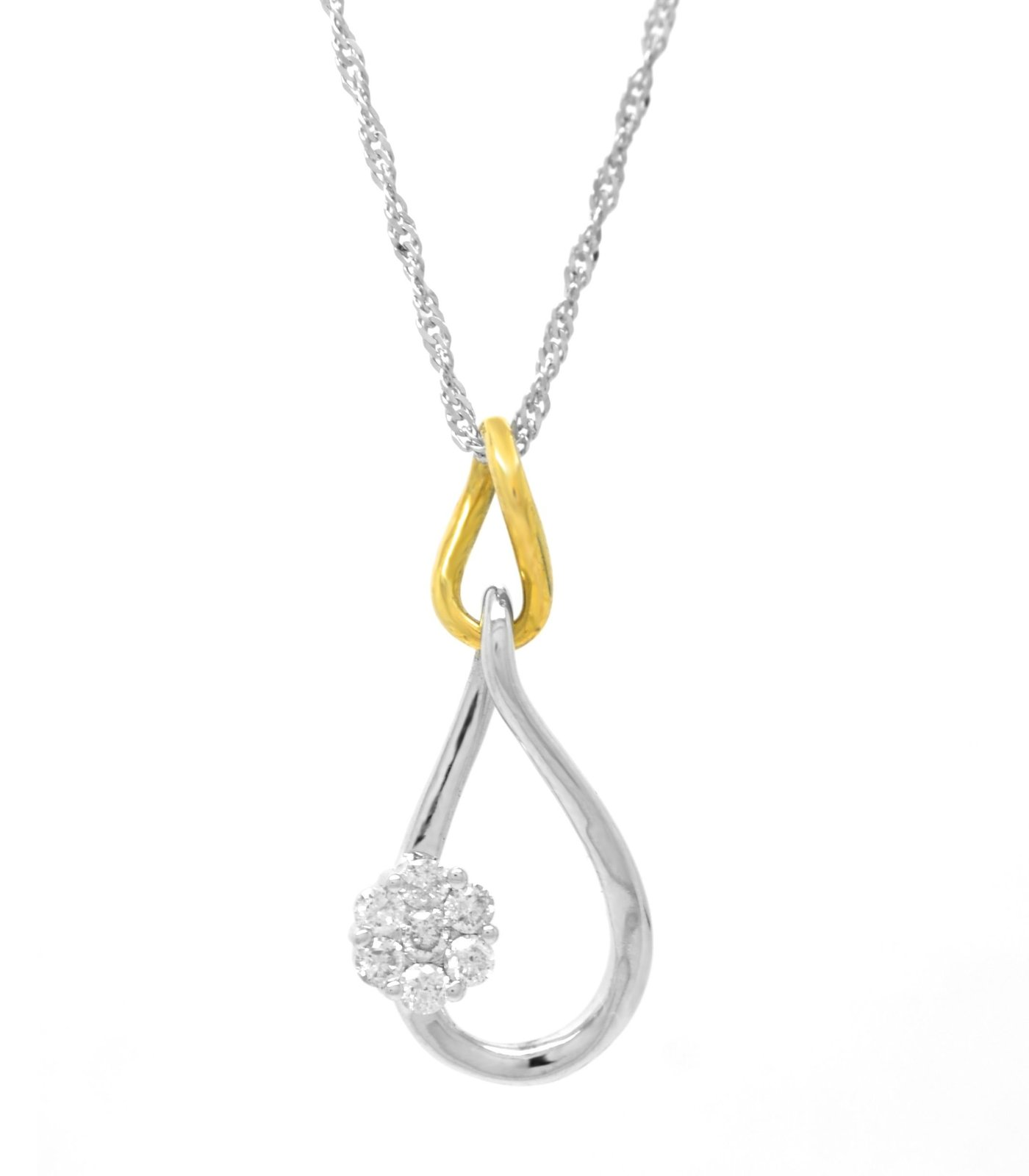 10K 0.15 cttw White and Yellow Gold Genuine Diamond Infinity Pendant with 10k Ch