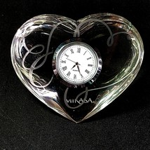 1 (One) MIKASA LOVE STORY Etched Lead Crystal Heart Clock New Battery-Si... - $24.69