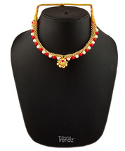 Womens Trendz White and Red Moti Kolhapuri 24K Gold Plated Alloy Necklace  - $40.00