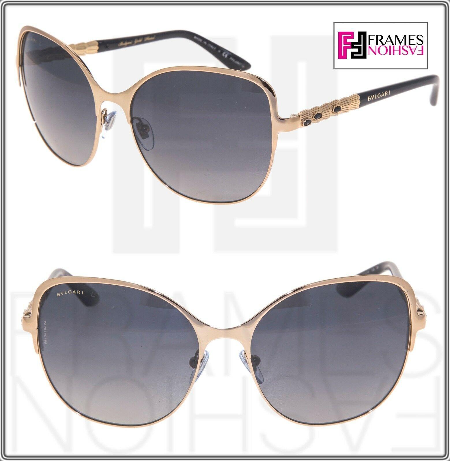 BVLGARI Le Gemme BV6078KB Black Gold 18K Plated POLARIZED Sunglasses 6078 Women