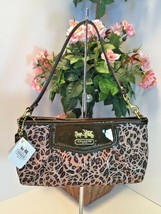 Coach Wristlet Bag Madison Brown Ocelot Op Art Large 45951 Cheetah Satee... - $84.14
