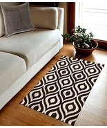 TreeWool, Ikat Ogee Accent Cotton Flat Weave Rectangular Area Rug with A... - $19.99