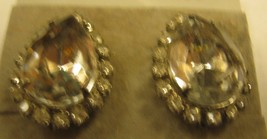CLIP EARRINGS large clear rhinestones with small RHINESTONES surrounding... - $2.96