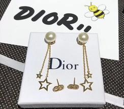 Authentic Christian Dior 2019 CD LOGO CHAIN STAR DANGLE DROP Earrings image 2
