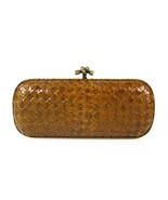 Bottega Veneta  intrecciato weaven snakeskin knot clutch bag brass tone ... - $2,315.61