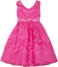Rare Editions Little Girl 2T-6X Fuchsia Double Bow Shoulder Chevron Stripe Dress