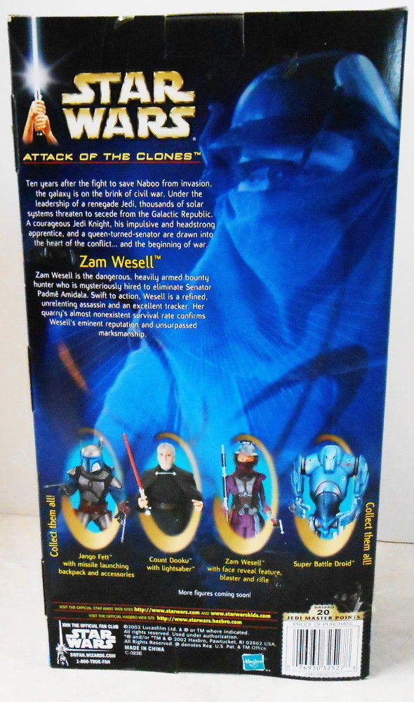 Srar Wars Attack of the Clone Zam Wesell 12 Inch Figure