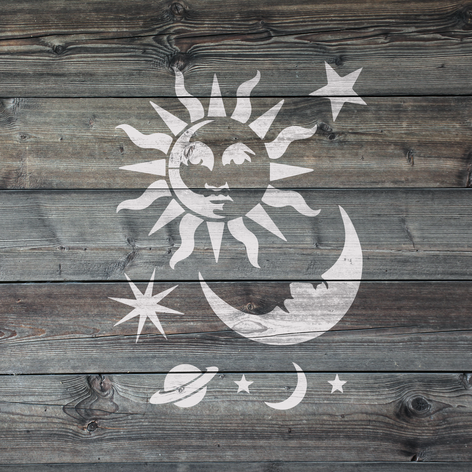 Celestial Sun and Moon Stencil - Reusable Celestial Stencils for DIY Crafts