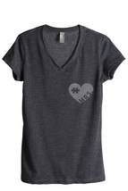 Thread Tank MRS Puzzle Heart Women's Relaxed V-Neck T-Shirt Tee Charcoal - $24.99+