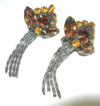 LARGE VINTAGE CHANDELIER RHINESTONE TOPAZ COLOR CLIP ON EARRINGS SILVER ... - $60.00