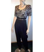 Sexy Zebra Swirl Jumpsuit and Crystal Necklace - $50.00