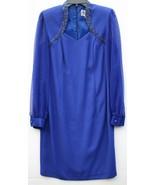 Vintage Nah Nah 10P Royal Blue Beaded Neckline Dress Sheer Long Sleeves ... - $24.74