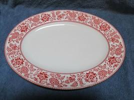 """Wedgwood Red Damask Oval Serving Platter 15 1/4"""" - $69.29"""