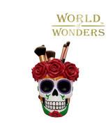 "White Sugar Skull Head Makeup Brush Holder 5"" Caddy Organizer Goth Home ... - £17.23 GBP"