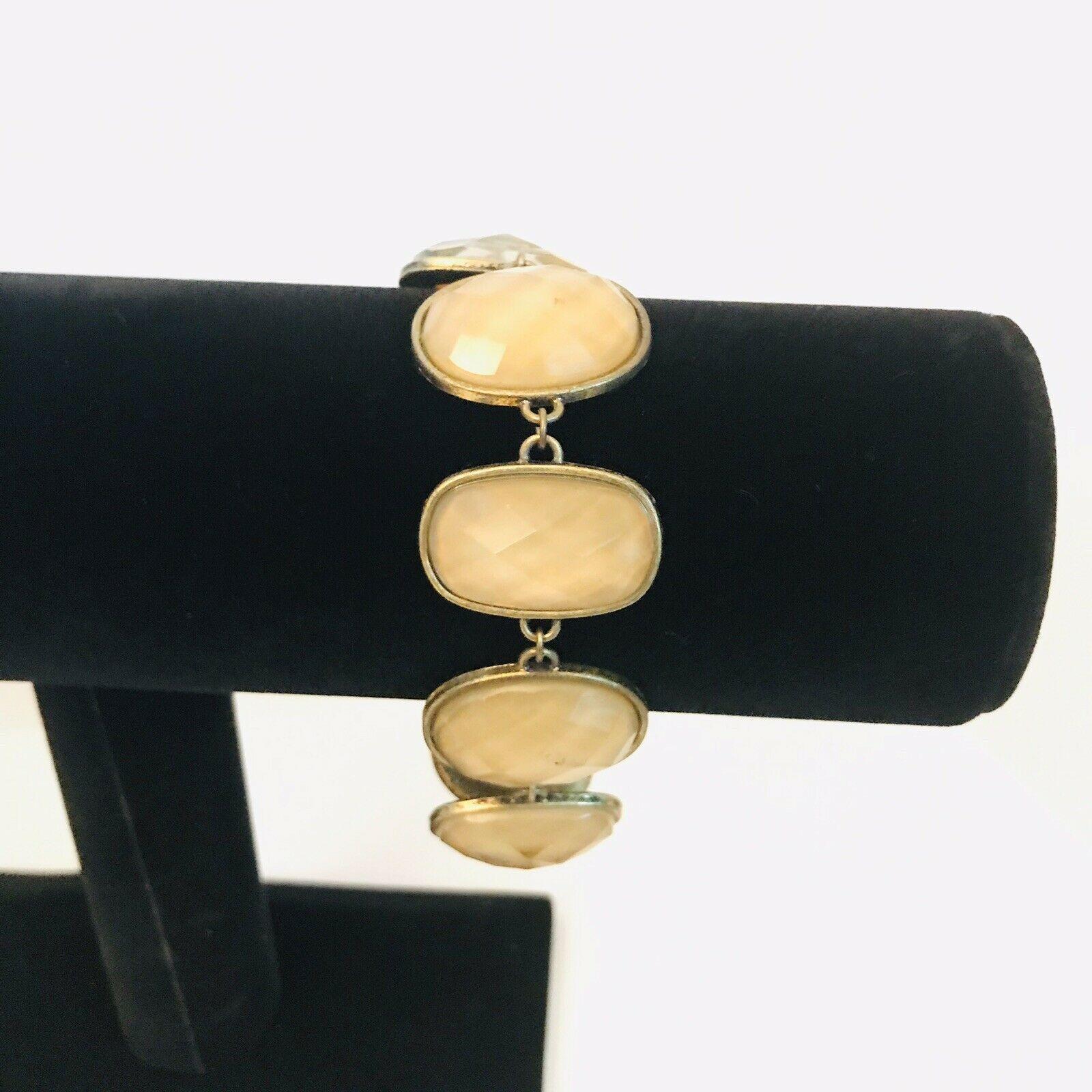Vintage Avon SH Bronze Tone Faceted Stone Link Bracelet J0725