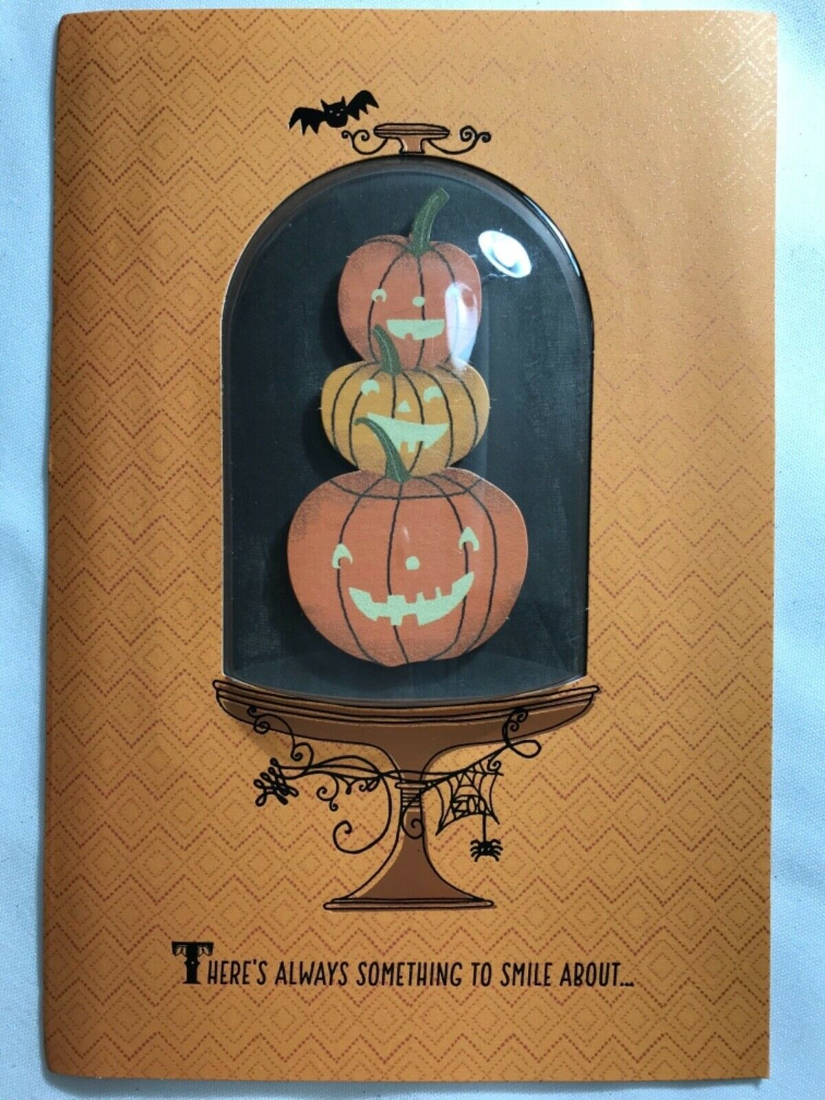 Primary image for Halloween Card 3D Card w/ 3 Pumpkins in a Glass looking Cloche/Display Case