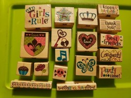 Lot Of 18 Cake Brand Wooden Stamps Words Key Crown Heart Music Butterfly Skull - $6.90
