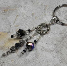 Chandelier Crystal Beaded Handmade Keychain Split Key Ring Bronze Black ... - $16.48