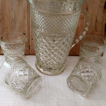 """5 Anchor Hocking Wexford """"On the Rocks"""" old fashioned glasses and Pitcher image 2"""