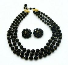 Marvella Black Glass Bead Beaded Multi-Strand Necklace Earring Set Vintage - $49.49
