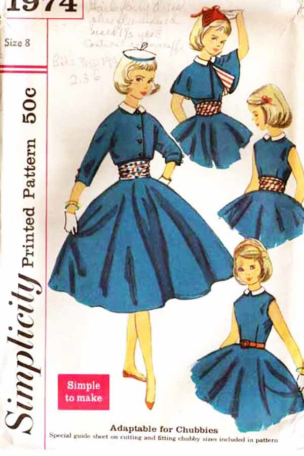 Primary image for 1957 DRESS, JACKET & CAPE Pattern 1974-s Girl's Size 8 - Complete