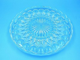 "Vintage Clear Glass Round Cake Platter Serving Tray 12"" - $19.75"