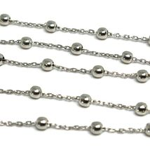 18K WHITE GOLD BALLS CHAIN 2 MM, 35 INCHES LONG, SPHERE ALTERNATE OVAL ROLO image 3