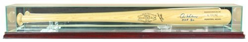Baseball Bat Display Case with Glass Top and Cherry Base