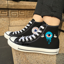 Eye Balls Monster Original Design Black Converse All Star Canvas Shoes S... - $119.00