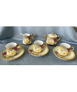 Nippon Antique Rose Gold 8Pc Set c1891 Maple Leaf 3 Cups & Saucers Sugar... - $299.20