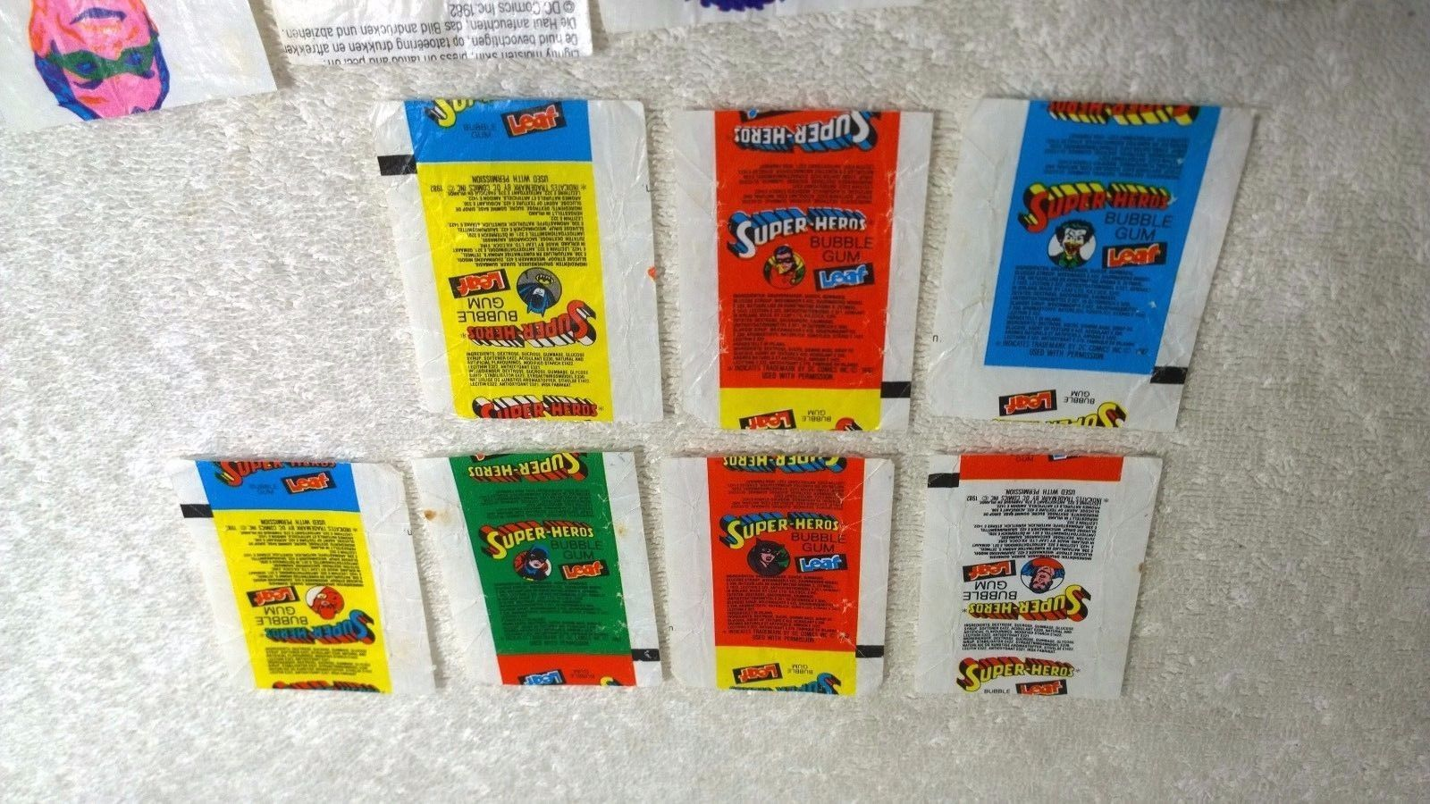 1982 Leaf Bubble Gum Super Heros 7x Wrappers & 6x Tattoo Sheets Foreign Issue