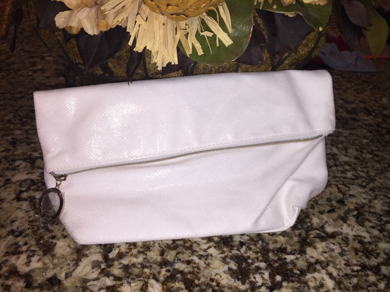 NEW SEALED WOMEN'S HANDBAG, WHITE TEXTURED CLUTCH BAG WITH GOLD KEYCHAIN