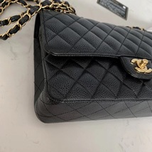 BRAND NEW AUTH Chanel Medium Black Caviar Classic Double Flap Bag GHW image 4
