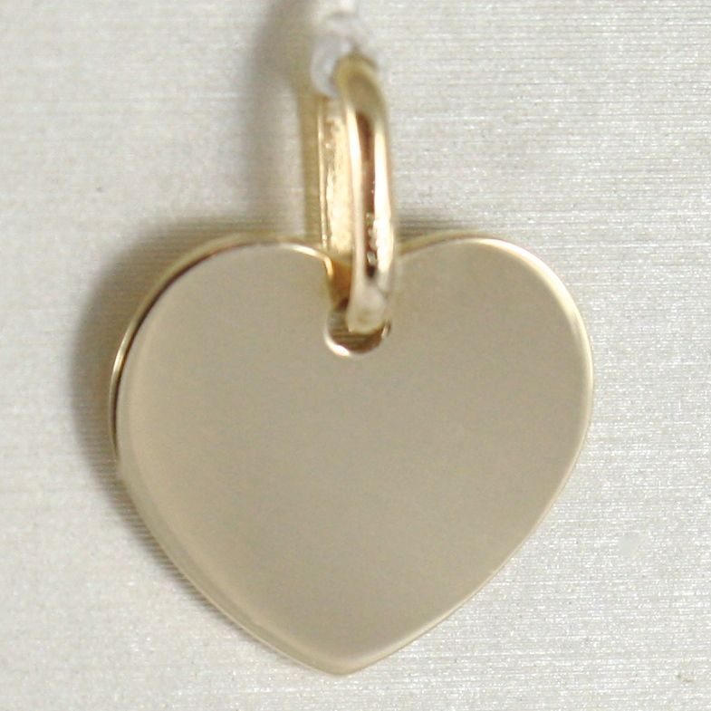 YELLOW GOLD PENDANT 750 18K HEART DISH, ENGRAVABLE, LENGTH 1.6 CM, ITALY