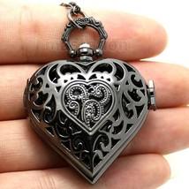 Black Pierced Heart Shape Pocket Watch Necklace Pendant - $12.00