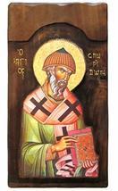 Wooden Greek Christian Orthodox Wood Icon of Saint Spyridon Spiridon / K4 - $158.30