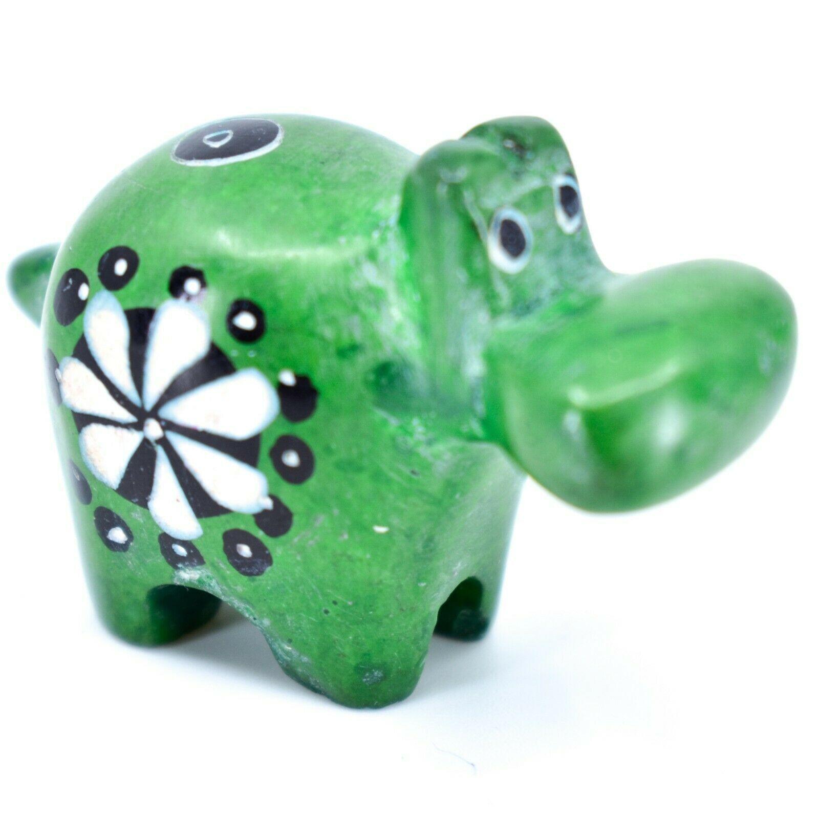 Tabaka Chigware Hand Carved Soapstone Green Hippopotamus Hippo Miniature Figure