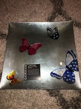 """Gorham Butterfly Menagerie Square Crystal Glass Tray 14"""" - $44.99"""