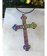 Cross Necklace ExLarge Titanium Coated Multi Colors Perfect for Women Men - $11.88