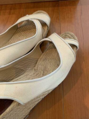 Christian Louboutin Espadrille US 7 Wedgesole Open Toe Sandals Fabric Rare USED image 2