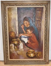 Listed Romanian-Israeli Artist Sandu Liberman Large Framed Oil Painting ... - $2,499.00