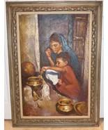 Listed Romanian-Israeli Artist Sandu Liberman Large Framed Oil Painting ... - $2,499.00