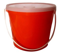 1 Red Children's Piggy Bank (Plastic Bucket and Lid)  Made in USA Non Toxic - $12.38