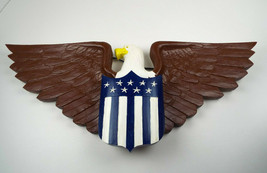 Vintage Hand Carved Wood Eagle Primitive Americana Patriotic Stars Strip... - $36.76