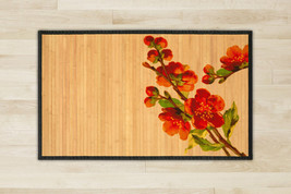 Flower bamboo natural rug housewarming 23.6X39.4 brown mat room and grea... - $48.00