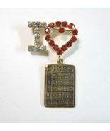 Rhinestone I Love Bingo Pin with Red Rhinestone Heart and Dangling Bingo... - $9.99