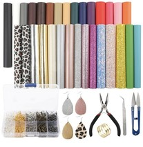 30pcs Leather Earring Making Kit Include 4 Kinds of Faux Leather Sheets ... - $27.12