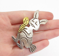 MEXICO 925 Silver - Vintage Two Tone Rabbit With Carrot Brooch Pin - BP5578 - $61.86