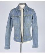 BEBE  Jean Jacket Hickory Striped Stretch Denim Retro Style Chore Womens... - $29.69